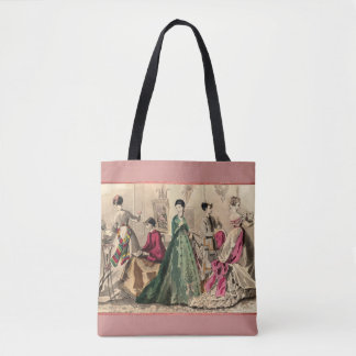 Victorian Dress With Pink Bow Tote Bag