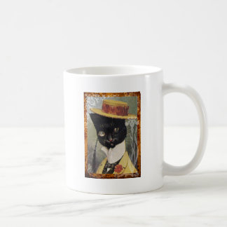 Victorian Dressed Black Cat Gentleman Hat Coffee Mug
