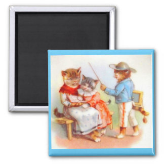 Victorian dressed kitty cats 2 inch square magnet
