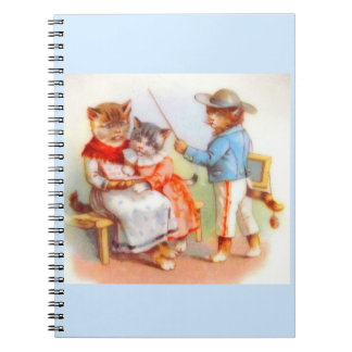 Victorian dressed kitty cats family notebook