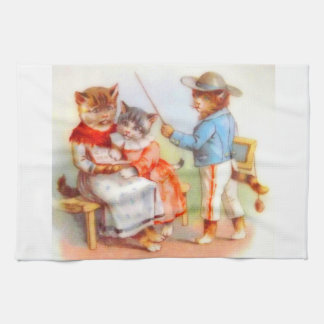 Victorian dressed kitty cats family towel