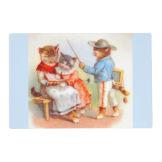 Victorian dressed kitty cats placemat