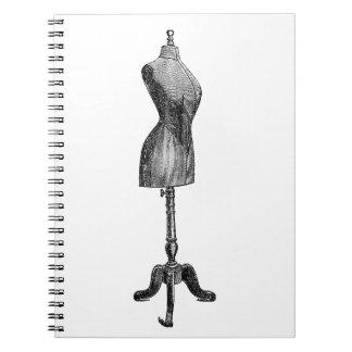 Victorian Dressform, cuerpo completo del vintage Spiral Notebook