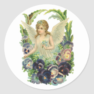 Victorian Easter Angel with Purple Pansy Flowers Classic Round Sticker