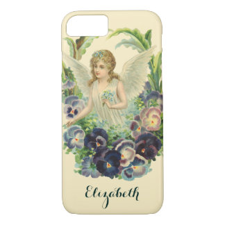 Victorian Easter Angel with Purple Pansy Flowers iPhone 7 Case