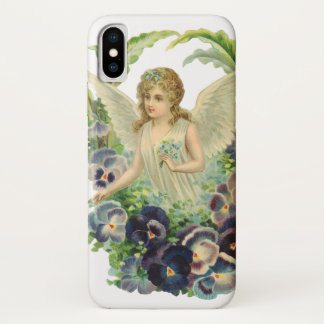 Victorian Easter Angel with Purple Pansy Flowers iPhone X Case