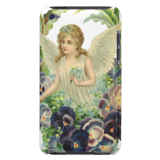 Victorian Easter Angel with Purple Pansy Flowers iPod Touch Case
