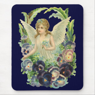 Victorian Easter Angel with Purple Pansy Flowers Mouse Pad