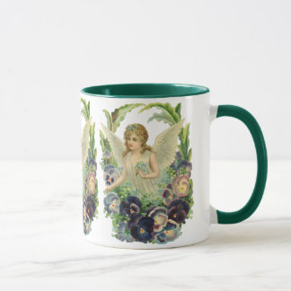 Victorian Easter Angel with Purple Pansy Flowers Mug