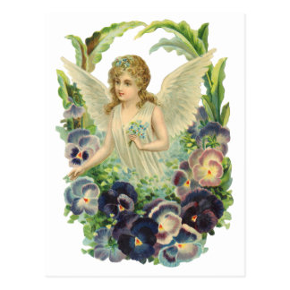 Victorian Easter Angel with Purple Pansy Flowers Postcard