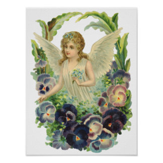 Victorian Easter Angel with Purple Pansy Flowers Poster