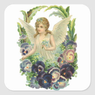 Victorian Easter Angel with Purple Pansy Flowers Square Sticker