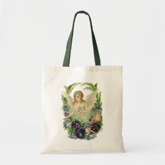 Victorian Easter Angel with Purple Pansy Flowers Tote Bag