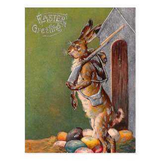 Victorian Easter Bunny Guard PC Postcard