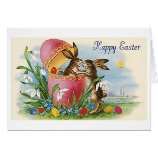 Victorian Easter Bunny Kiss Easter Card