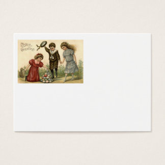 Victorian Easter Colored Decorated Egg Basket Business Card
