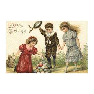Victorian Easter Colored Decorated Egg Basket Canvas Print