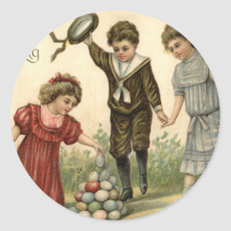 Victorian Easter Colored Decorated Egg Basket Classic Round Sticker