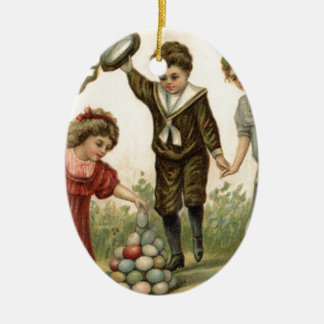 Victorian Easter Colored Decorated Egg Basket Double-Sided Oval Ceramic Christmas Ornament