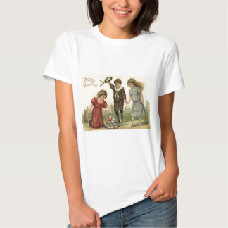 Victorian Easter Colored Decorated Egg Basket T Shirt