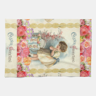 victorian easter eggs kitchen towel