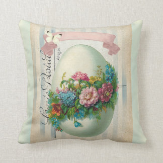Victorian Easter flower egg double sided. Throw Pillow