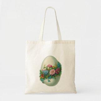 Victorian Easter Flower Egg Easter Egg Hunt Budget Tote Bag