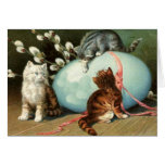 Victorian Easter Kittens Easter Card Greeting Card