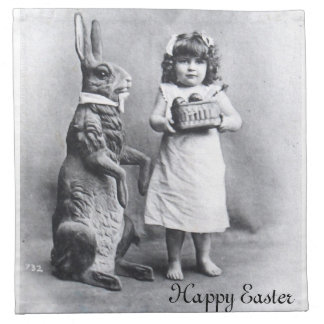 Victorian Easter Post Card Candy Bunny Girl Napkin