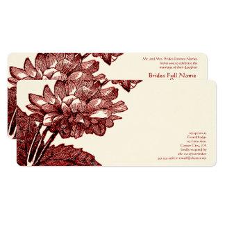 Victorian Elegant Burgundy Cabbage Rose  Invite