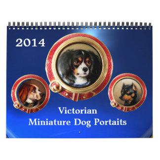 VICTORIAN ENAMELS /MINIATURE DOG PORTRAITS 2014 , WALL CALENDAR