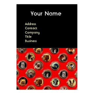 VICTORIAN ENAMELS /MINIATURE DOG PORTRAITS,Red Large Business Cards (Pack Of 100)