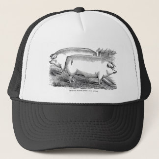 Victorian Engraving - Chester White Pigs Trucker Hat
