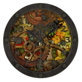 Victorian enrrollado Steampunk de cobre amarillo c Reloj Redondo Grande