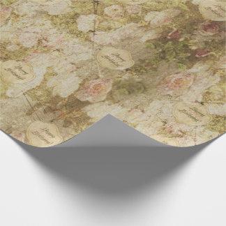 Victorian envejecido y descolorado subió - papel de regalo