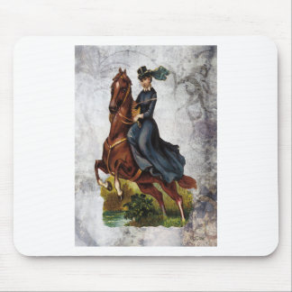 Victorian Equestrian Lady Riding Jumping Horse Mouse Pad