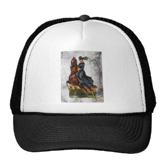Victorian Equestrian Lady Riding Jumping Horse Trucker Hat