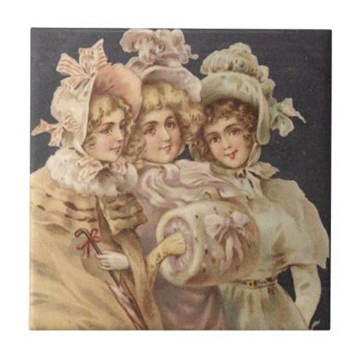 Victorian Era Christmas Carolers Tile