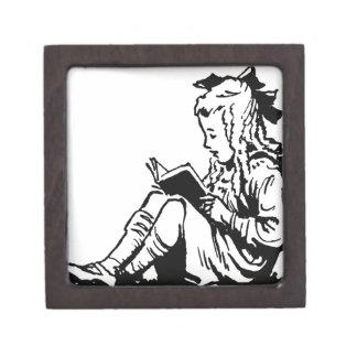 Victorian Era Girl Reading A Book Keepsake Box