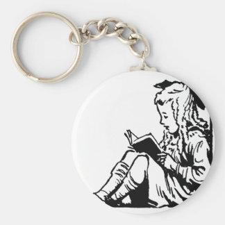 Victorian Era Girl Reading A Book Key Chains