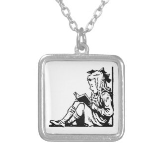 Victorian Era Girl Reading A Book Silver Plated Necklace
