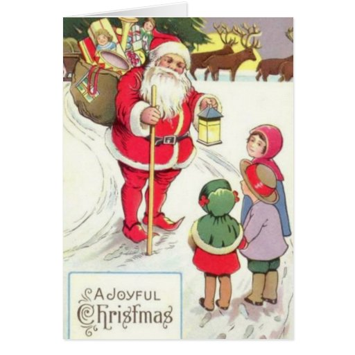 Victorian Era Santa Elf Card