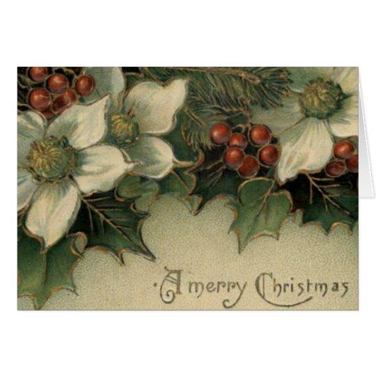 Victorian Era White Poinsettia Christmas Card