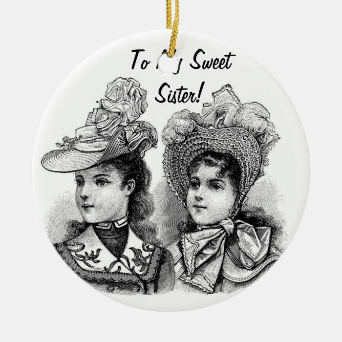Victorian Etching with Sentiment Ceramic Ornament