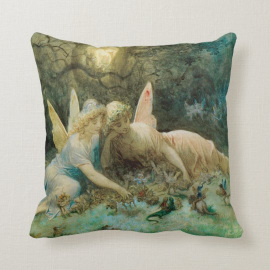 Victorian Fairies from Shakespeare Throw Pillow