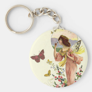 Victorian Fairy and Butterflies Keychain