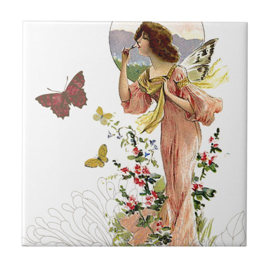 Victorian Fairy and Butterflies Tile
