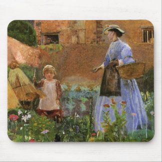 Victorian Family, A Garden in Cookham by Pinwell Mouse Pad