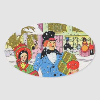 Victorian Family Christmas Oval Sticker