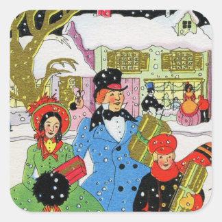 Victorian Family Christmas Square Sticker